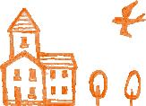 家と鳥のイラスト